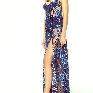 NWT for LOVE & lemons blue sequined VICTORIA maxi